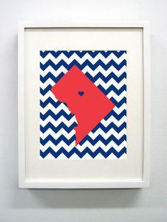 Washington DC Maryland State Giclée Print  8x10  by PaintedPost, $15.00 #paintedpoststudio - Howard University - Bison
