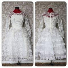 Vintage 1950's 60's Tea Length Tulle and White Lace Wedding Dress by pursuingandie, $250.00