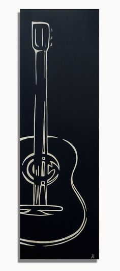 Guitar Art  Hand Carved Solid Wood Panel by BlackCanvasGallery, $295.00