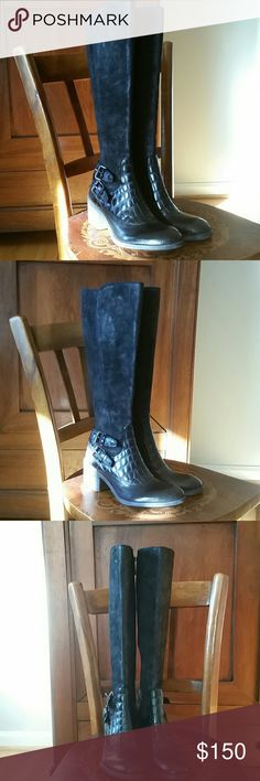 Donald Pliner black Dulce boots 6 m NWT These are so gorgeous I'd keep them I'd they were my size! Brand new, suede and embossed leather. Size 6 m. Donald J. Pliner Shoes Heeled Boots