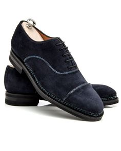 Bontoni Blue Suede D Amore 2 Blue suede captoe oxford 5 eyelet oxford Leather lining and insole Cushioned footbed Rounded toe Norweigean welt stitching Vibram rubber comfort sole Hand stitched apron Tonal top stitching Shoe trees included Color: blue Handmade in Italy