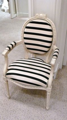 French chair reupholstered in white with black stripes