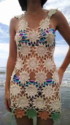 Trailing Flowers Beach Cover Up, This crochet beach cover up is perfect for your next trip to the beach. Think of this as a pattern recipe to make a cover up that fits your body as snug or loos Crochet Beach Dress, Black Crochet Dress, Crochet Blouse, Crochet Bikini, Knit Crochet, Beach Coverup Pattern, Beach Covers, Beautiful Crochet, Crochet Clothes