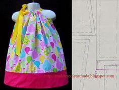 MOLDE VESTIDO DE CRIANÇA Comece por preparar o laço do molde de vestido de criança, para isso dobre a fita do laço com o direito do tecido para dentro e co