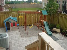 Now, this is a creative idea for a children's playground when you have a small outdoor living space. Toronto Landscape Design. Landscaping Ideas & Photo Gallery: backyard patio and playground for children