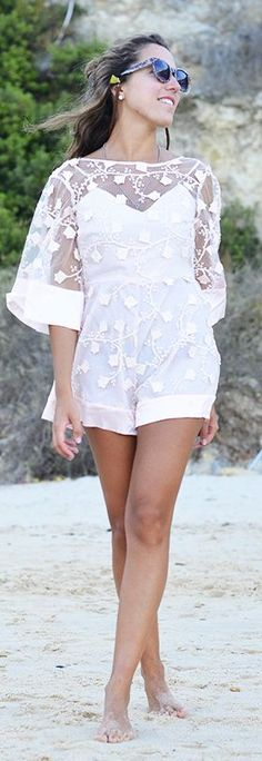 Style By Three White Delicate Lace Romper