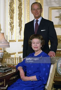 Queen Elizabeth II With Prince Philip In Their Drawing Room At Home In Windsor…
