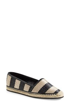 Burberry 'Hodgeson' Woven Raffia Stripe Flat (Women) available at #Nordstrom $395
