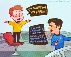Awwwwwww chibi Chekov and Bones! So cute! Star Trek fan art by Madi