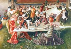 Znalezione obrazy dla zapytania Sir Stanley Spencer, Dinner on the Hotel Lawn 1956–7,