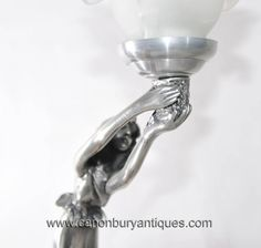 Art Nouveau Pewter Female Figurine Table Lamp
