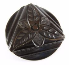 Vtg Carved Chocolate Brown Bakelite XL Button or Toggle w/ Flower, Simi Tested