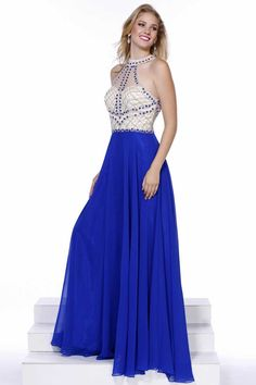 Long Prom Dress NX8201. Full Length A-Line Prom and Evening Dress has Gemstone and Lattice Pattern Beading Embellished Bodice with Halter Neck featuring Illusion Back with Keyhole Detail and Zipper Closure, Softly Gathered Flowing Chiffon Skirt. https://www.smcfashion.com/wholesale-prom-dresses/long-prom-dress-nx8201