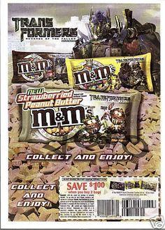 2009 magazine ad M&M TRANSFORMERS Revenge of the fallen mms M&M's advertisement