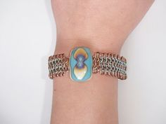 Blue and Brown Chainmaille Bracelet by JKODesigns on Etsy, $55.00