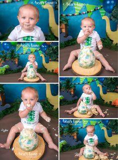 Dinosaur baby boy cake smash with dino egg cake blue orange and green 1st Birthday Boy Themes, 1st Birthday Pictures, 1st Birthday Cake Smash, 1st Birthday Parties, Boy Cake Smash, Birthday Ideas, Dinasour Birthday, Dinosaur First Birthday, Baby Boy First Birthday