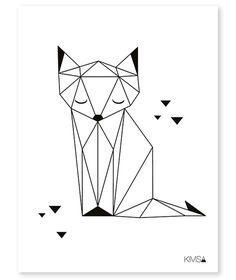 Drawing Portraits - Affiche enfant renard noir et blanc: Discover The Secrets Of Drawing Realistic Pencil Portraits.Let Me Show You How You Too Can Draw Realistic Pencil Portraits With My Truly Step-by-Step Guide. Geometric Fox, Geometric Drawing, Geometric Origami, Geometric Cat Tattoo, Origami Design, Geometric Lines, Pencil Drawings, Art Drawings, Drawing Portraits