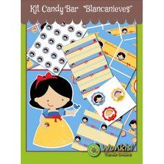 Blancanieves - Kit Candy Bar (Golosinas) http://www.wonkistienda.com.ar/kit-cady-bar-blancanieves.html