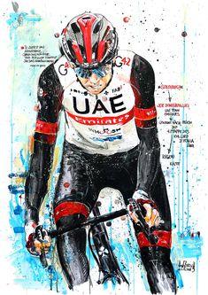 SOLOSIEG! Joe Dombrowski, UAE Team Emirates, gewinnt die 4. Etappe des 104. Giro d'Italia 2021 (100x70cm) Cycling Art, Uae, Biking, Italia, Road Cycling, Bike Art
