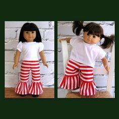 Christmas Holiday Ruffle Pants  American Girl by SewFunDollClothes