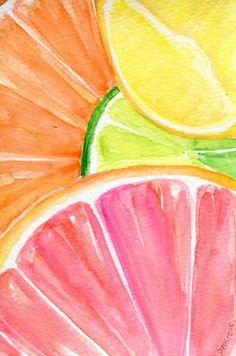 Ruby Red Grapefruit, Lemon, Orange, Lime slices on aqua Watercolor Painting, Original Fruit ART, 4 x 6