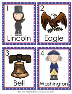 This Presidents Day write the room activity would be great to use in a literacy center. Students search the room to find the pictures and write the word after the corresponding number on the recording sheet. Activity includes 8 pictures.  Print the picture cards onto cardstock and laminate for durability.