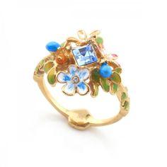 Orangutan Floral Crystal Ring