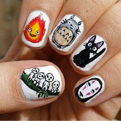 18 Miyazaki Nail Art Designs That Will Blow You Away Zebra Nail Art Nail Art Tribal, Zebra Nail Art, Dot Nail Art, Nail Art Diy, Diy Nails, Nail Polish Designs, Cute Nail Designs, Punk Nails, Anime Nails