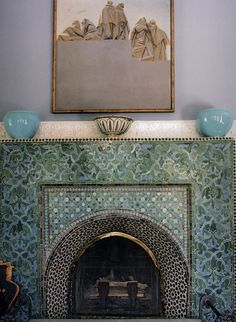 Find, buy and renovate a Riad in Marrakech - the builders guide Moroccan Design, Moroccan Decor, Moroccan Style, Moroccan Blue, Moroccan Bedroom, Moroccan Lanterns, Mosaic Fireplace, Fireplace Design, Decorative Fireplace
