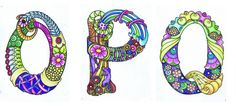 Alphabet O-Q by Sheila Arthurs Hand Lettering Alphabet, Doodle Lettering, Alphabet Art, Alphabet And Numbers, Letter Art, Typography, Tangle Doodle, Tangle Art, Doodles Zentangles