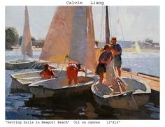 Calvin Liang, Setting sails in Newport Beach, oil, 12 x Boat Painting, Figure Painting, Classical Realism, Boat Art, Southwest Art, Portraits, Magazine Art, Landscape Paintings, Oil Paintings