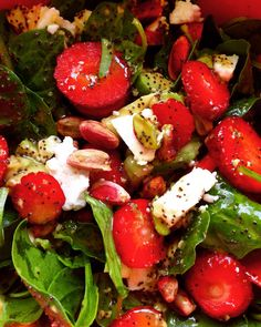I first saw strawberries added to a salad back in the days when I was sort of frequenting TGI Friday's (two to three times a year) to get my junk food high by devouring my favorite Jack Danie… Baby Spinach, Caprese Salad, Junk Food, Strawberries, Avocado, Strawberry Fruit, Lawyer, Strawberry, Insalata Caprese