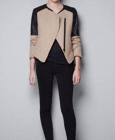 Jaqueta de lã sintética e couro falso