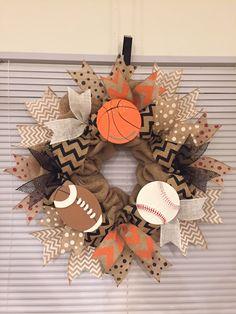 Burlap sports wreath