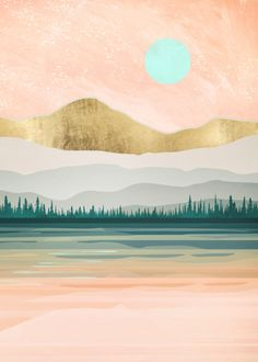 Spring Forest Lake By Spacefrog Designs Metal Posters - Painting Watercolor Landscape, Abstract Landscape, Watercolor Art, Abstract Art, Desert Landscape, Green Landscape, Geometric Landscape Wallpaper, Landscape Paintings, Landscape Tattoo