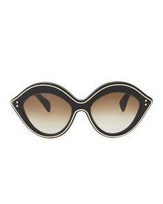 Chunky Metal-Edged Cat-Eye Sunglasses, Black