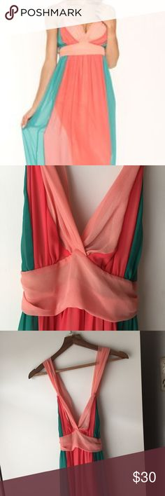 Andree Maxi Dress Long maxi dress. Colors are teal, coral and a salmon color. I'm 5'9 and this dress hits the floor. Perfect for tall girls! Size M. Slight wear on the bottom. Adjustable straps! andree Dresses Maxi