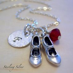 Tap Dance Shoes Charm Necklace - Personalized Sterling Silver Initial Necklace, Tap Dancer Necklace, Personalized Gift
