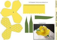 Daffodil 3D Paper Flower on Craftsuprint designed by Sandie Burchell - New Category 3D Paper Flowers - Beautiful 3D Paper Daffodil. Use these to create embellishments for your cards, gifts and make flower arrangements. You could even apply a pipe cleaner wrapped in Green crepe paper to make stems for a flower arrangement that will last and last. It will be useful for lots of your projects. Print it out several times to put on a gift or use a selection of different paper flowers together and…
