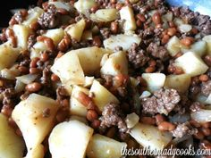 Hobo stew is only four ingredients and such a versatile recipe you can make it your own. Great for camping, tailgating, weeknight meals or anytime you want something delicious and easy. Ground Meat Recipes, Pork Recipes, Slow Cooker Recipes, Chicken Recipes, Cooking Recipes, Skillet Recipes, Dip Recipes, Recipies, Dinner Recipes
