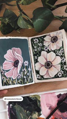 Gouache Painting, Acrylic Painting Canvas, Painting & Drawing, Canvas Art, Folk Art Flowers, Flower Art, Art Sketches, Art Drawings, Art Studio Organization