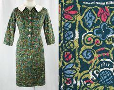 Late 1950s Batik Suit - Size 000 - XXS - 50s - Early 60s - Secretary Style - Summer Print Cotton - Asian Buttons - Girl Next Door - 42933