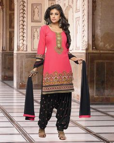 Palkhi Inc Patiala Suit In Light Pink Light Green Color