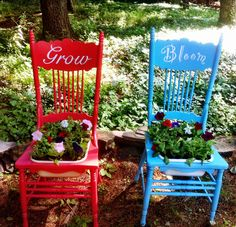 Garden chair planters, major up-cycled craft. got these at a yard sale and transformed them.