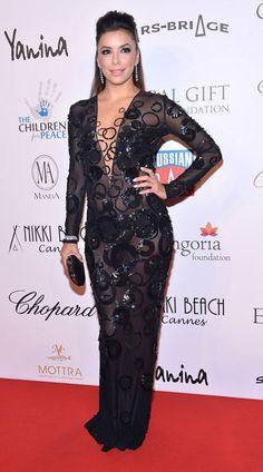 Eva-Longorias-Cannes-Global-Gift-Gala-Yanina-Spring-2013-Blue-Long-Sleeve-Sheer-Gown
