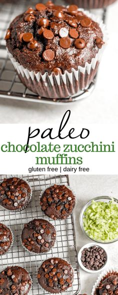 An easy and healthy recipe for gluten free chocolate zucchini muffins, made with low carb ingredients like almond flour. These double chocolate muffins are moist, fluffy, and perfect for kids and adults alike! #baking #food #recipe #paleo #zucchini Gluten Free Muffins, Healthy Muffins, Gluten Free Baking, Gluten Free Desserts, No Bake Desserts, Healthy Baking, Healthy Snacks, Chocolate Zucchini Muffins, Gluten Free Chocolate