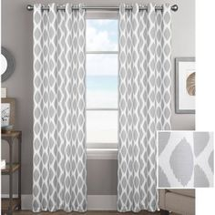 """Better Homes and Gardens Ikat Diamonds Curtain Panel with Grommets - Walmart.com $14.97, 95"""" length, gray and white"""