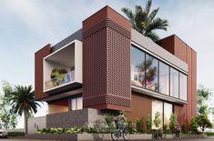 3 Storey House Design, Bungalow House Design, Small House Design, Brick Design, Facade Design, Exterior Design, Hotel Design Architecture, Facade Architecture, Architecture Visualization