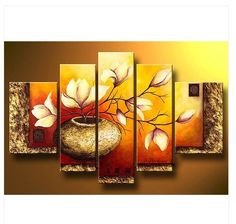 cool Wieco Art - Modern Canvas Wall Art Stretched and Framed Hand-painted Golden Bottle Elegent Flowers Home Decoration Floral Oil Paintings on Canvas Multi Canvas Painting, Modern Oil Painting, Oil Painting Flowers, Oil Painting Abstract, Canvas Wall Art, Oil Paintings, Diy Canvas, Painting Tattoo, Floral Paintings