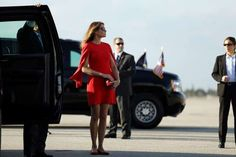 Melania Trump - Carlos Barria/Reuters Givenchy mini dress with cape sleeves